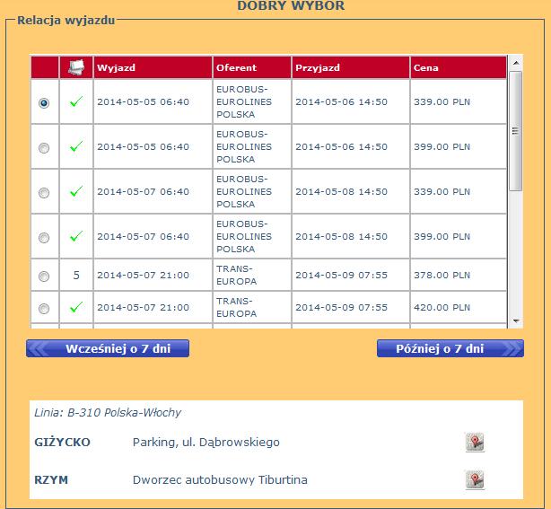 bilety autobusowe z giżycka do rzymu