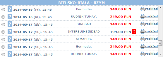bilety autokarowe bielsko biala-rzym